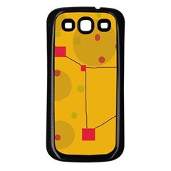 Yellow abstract sky Samsung Galaxy S3 Back Case (Black)