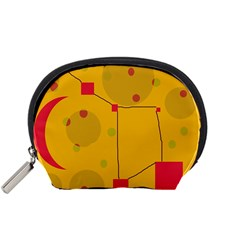 Yellow abstract sky Accessory Pouches (Small)