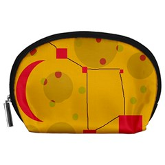 Yellow abstract sky Accessory Pouches (Large)