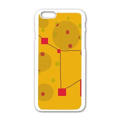 Yellow abstract sky Apple iPhone 6/6S White Enamel Case