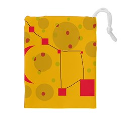 Yellow abstract sky Drawstring Pouches (Extra Large)