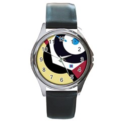 Digital abstraction Round Metal Watch