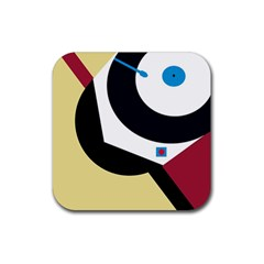 Digital abstraction Rubber Square Coaster (4 pack)