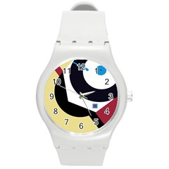 Digital abstraction Round Plastic Sport Watch (M)