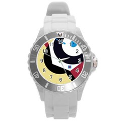 Digital abstraction Round Plastic Sport Watch (L)