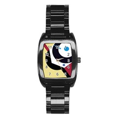 Digital abstraction Stainless Steel Barrel Watch