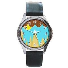Abstract landscape  Round Metal Watch
