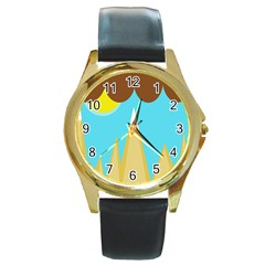 Abstract landscape  Round Gold Metal Watch