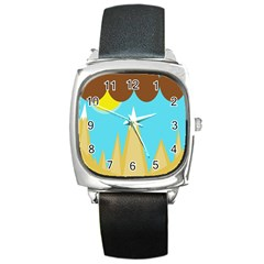 Abstract landscape  Square Metal Watch