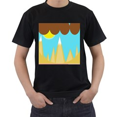 Abstract landscape  Men s T-Shirt (Black) (Two Sided)