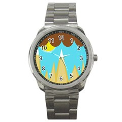 Abstract landscape  Sport Metal Watch