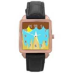 Abstract landscape  Rose Gold Leather Watch