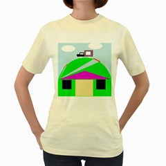 Abstract landscape  Women s Yellow T-Shirt