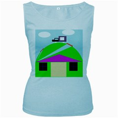 Abstract landscape  Women s Baby Blue Tank Top