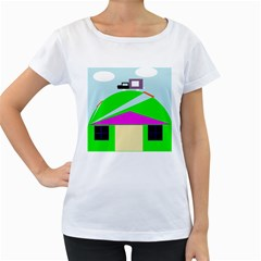 Abstract landscape  Women s Loose-Fit T-Shirt (White)