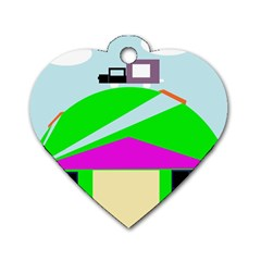 Abstract landscape  Dog Tag Heart (Two Sides)