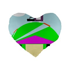 Abstract landscape  Standard 16  Premium Flano Heart Shape Cushions