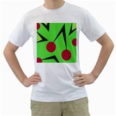 Cherries  Men s T-Shirt (White) (Two Sided)