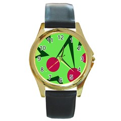 Cherries  Round Gold Metal Watch