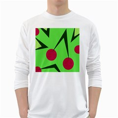 Cherries  White Long Sleeve T Shirts