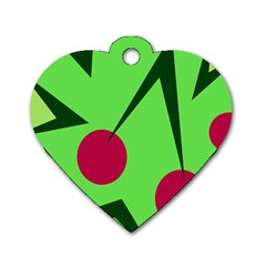 Cherries  Dog Tag Heart (One Side)