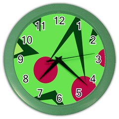 Cherries  Color Wall Clocks