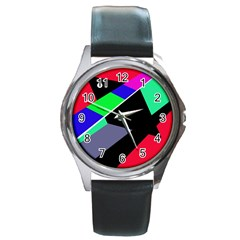 Abstract fish Round Metal Watch