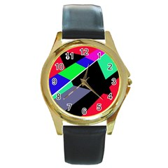 Abstract Fish Round Gold Metal Watch