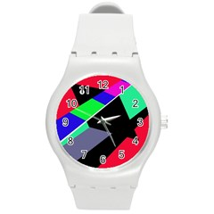 Abstract fish Round Plastic Sport Watch (M)