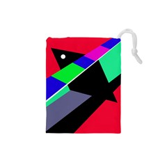 Abstract fish Drawstring Pouches (Small)