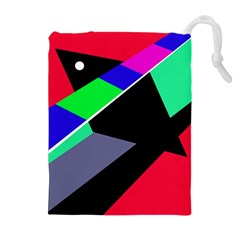 Abstract fish Drawstring Pouches (Extra Large)