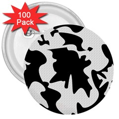 Black and white elegant design 3  Buttons (100 pack)