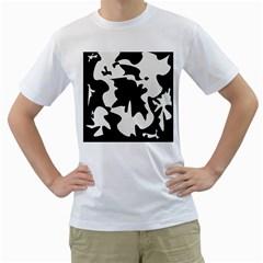 Black and white elegant design Men s T-Shirt (White) (Two Sided)