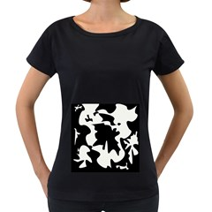 Black and white elegant design Women s Loose-Fit T-Shirt (Black)
