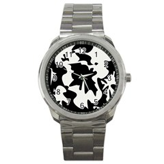 Black and white elegant design Sport Metal Watch
