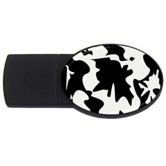 Black and white elegant design USB Flash Drive Oval (4 GB)