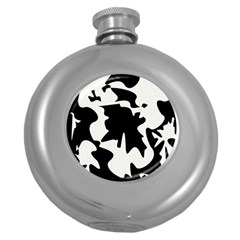 Black and white elegant design Round Hip Flask (5 oz)