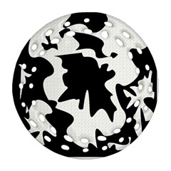 Black and white elegant design Round Filigree Ornament (2Side)