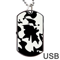 Black and white elegant design Dog Tag USB Flash (Two Sides)