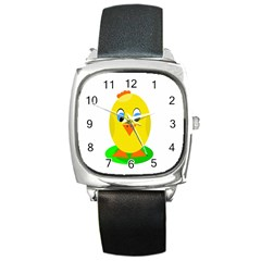 Cute chicken  Square Metal Watch