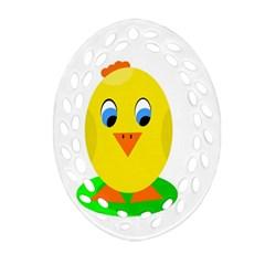 Cute chicken  Oval Filigree Ornament (2-Side)
