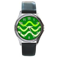 Green waves Round Metal Watch