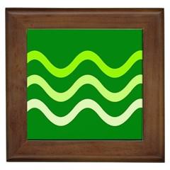 Green waves Framed Tiles