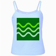 Green waves Baby Blue Spaghetti Tank
