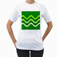 Green waves Women s T-Shirt (White) (Two Sided)