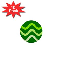 Green waves 1  Mini Buttons (10 pack)