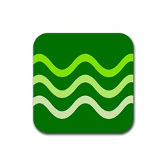 Green waves Rubber Coaster (Square)