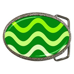 Green waves Belt Buckles