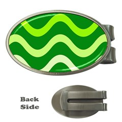Green waves Money Clips (Oval)