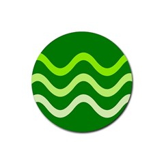 Green waves Rubber Round Coaster (4 pack)